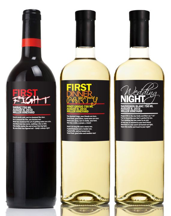 6 Custom Married First Wine Labels Wine Poems by StudioBLabels