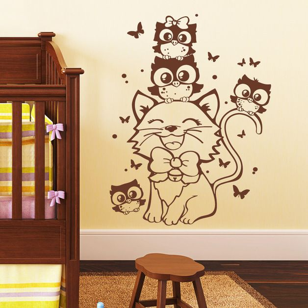 wandtattoo katze mit eulen babyzimmer pinterest. Black Bedroom Furniture Sets. Home Design Ideas