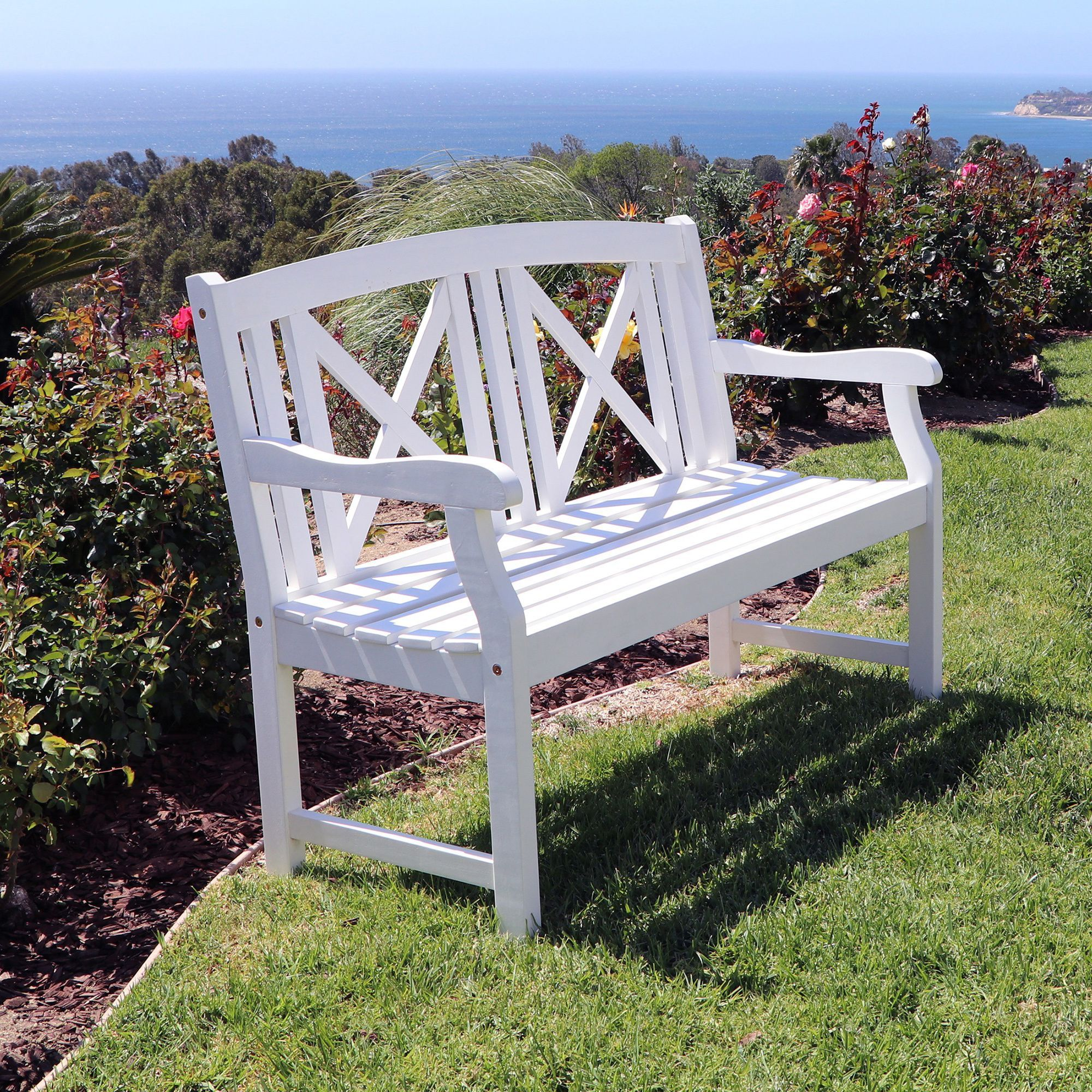 Miraculous Vifah Bradley Outdoor White Wooden Bench Outdoor Furniture Machost Co Dining Chair Design Ideas Machostcouk