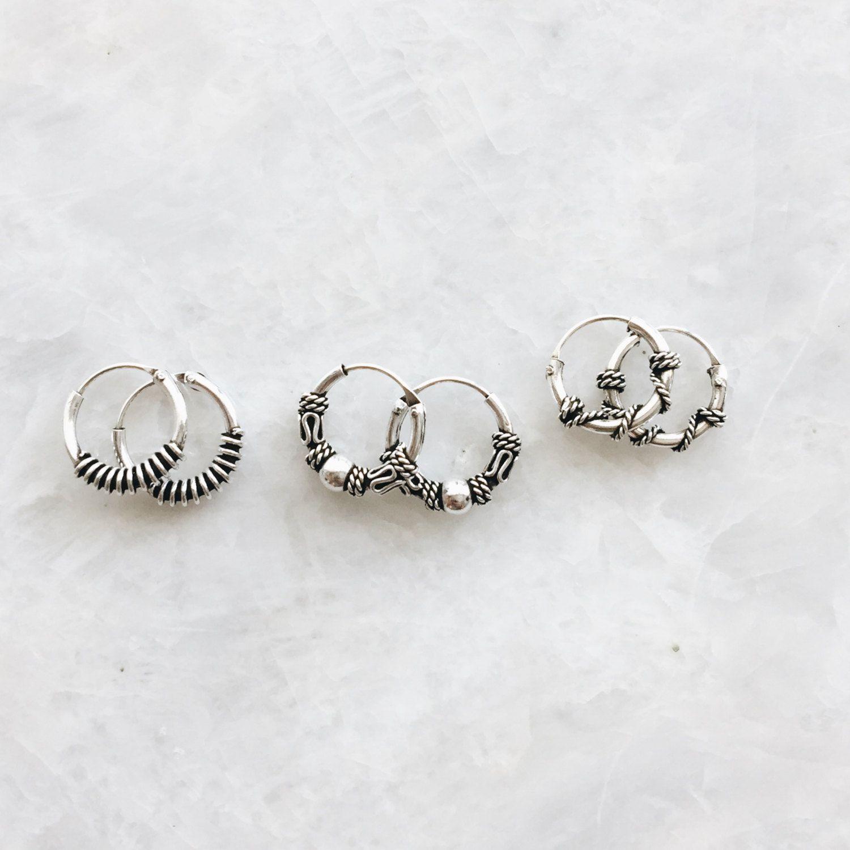 Sterling Silver Hoops Small Sterling Silver Hoop Earrings Ethnic Handmade Hoop Earrings for Women