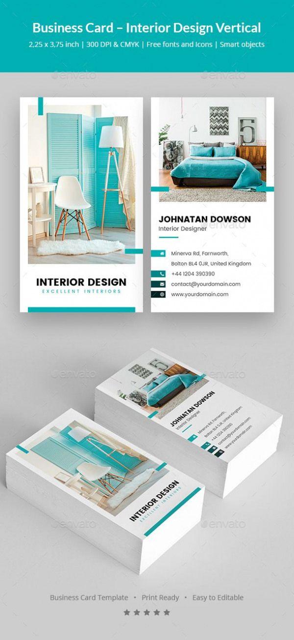 Interior Design Vertical Business Card Template Psd Design Interior Designer Business Card Business Card Design Interior Design Business