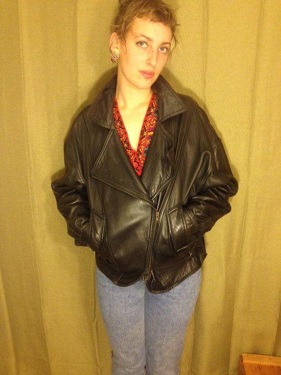 Vintage leather black jacket 80s 90s