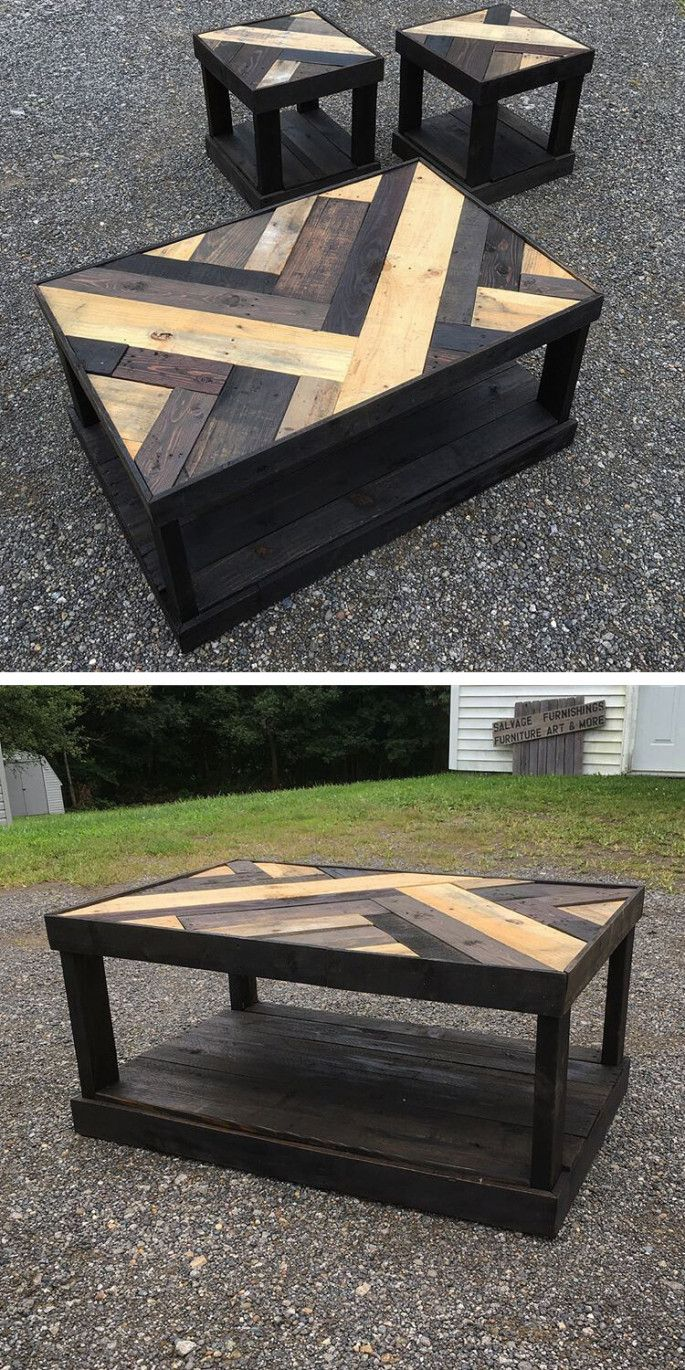 Wooden Pallet Table With Small Stools Pallettable Diy Wooden Projects Wooden Pallet Furniture Wooden Pallet Table
