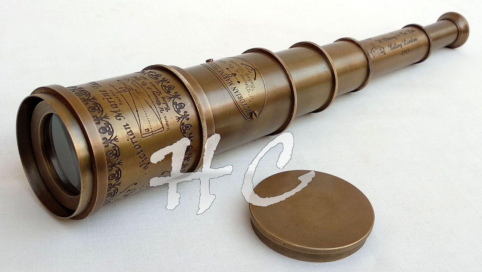 BRASS LEATHER BINOCULAR ROUND POCKET TELESCOPE MARITIME ANTIQUE REPRODUC