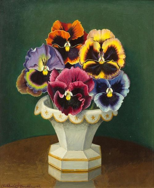 Niklaus Stoecklin (Swiss, 1896-1982), Floral still life with pansies, 1946. Oil on fibreboard, 29 x 24.5 cm.