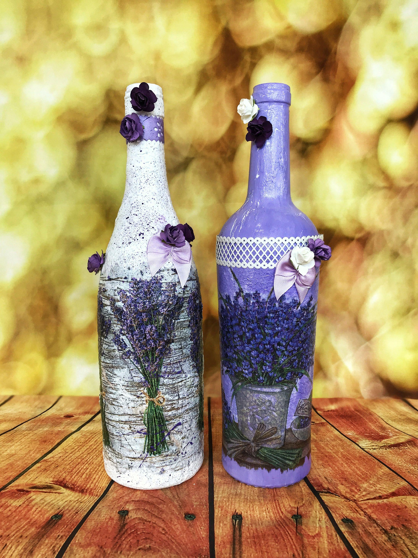 Decorated Wine Glass Bottles Set.Decoupage Craft.Glass Bottles Art ...