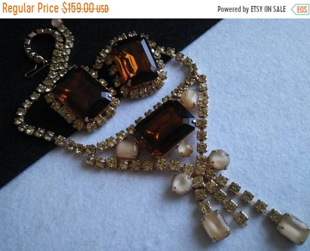 50s earrings Vintage inspired set Parure-50s reproduction-50s necklace