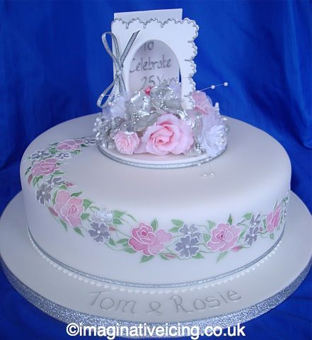 25th Silver Anniversary Card Cake Imaginative Icing Birthday Cake With Flowers Birthday Cakes For Women Heart Cakes