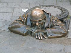 "Bratislava manhole cover Slovakia - based on illustration by Josef Lada for ""The Good Soldier Švejk"""