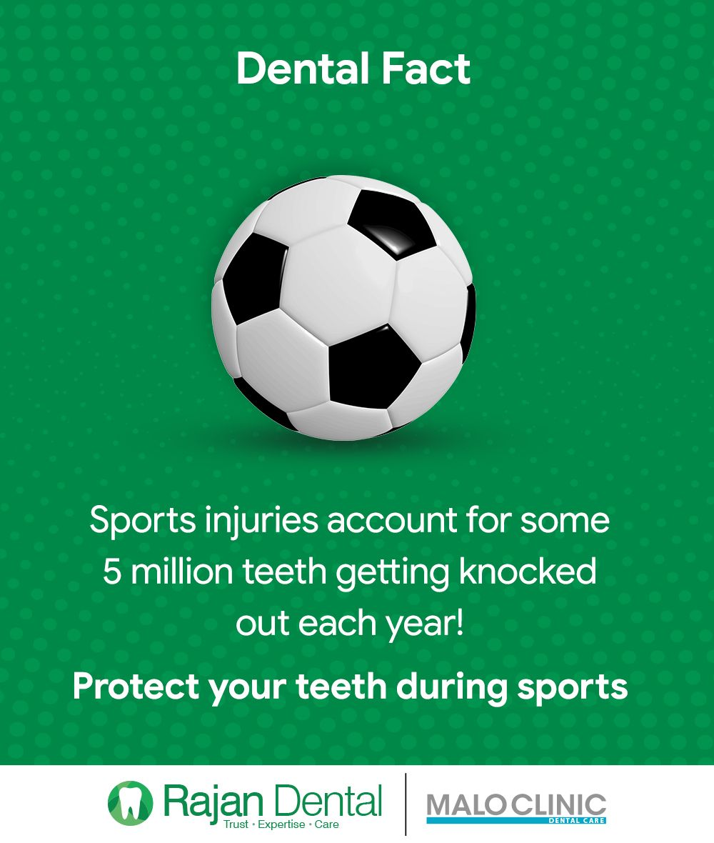 Dental Fact Sports Injuries Account For Some 5 Million Teeth Getting Knocked Out Each Year Protect Your Teeth Dental Facts Dental Dental Implants Infographic