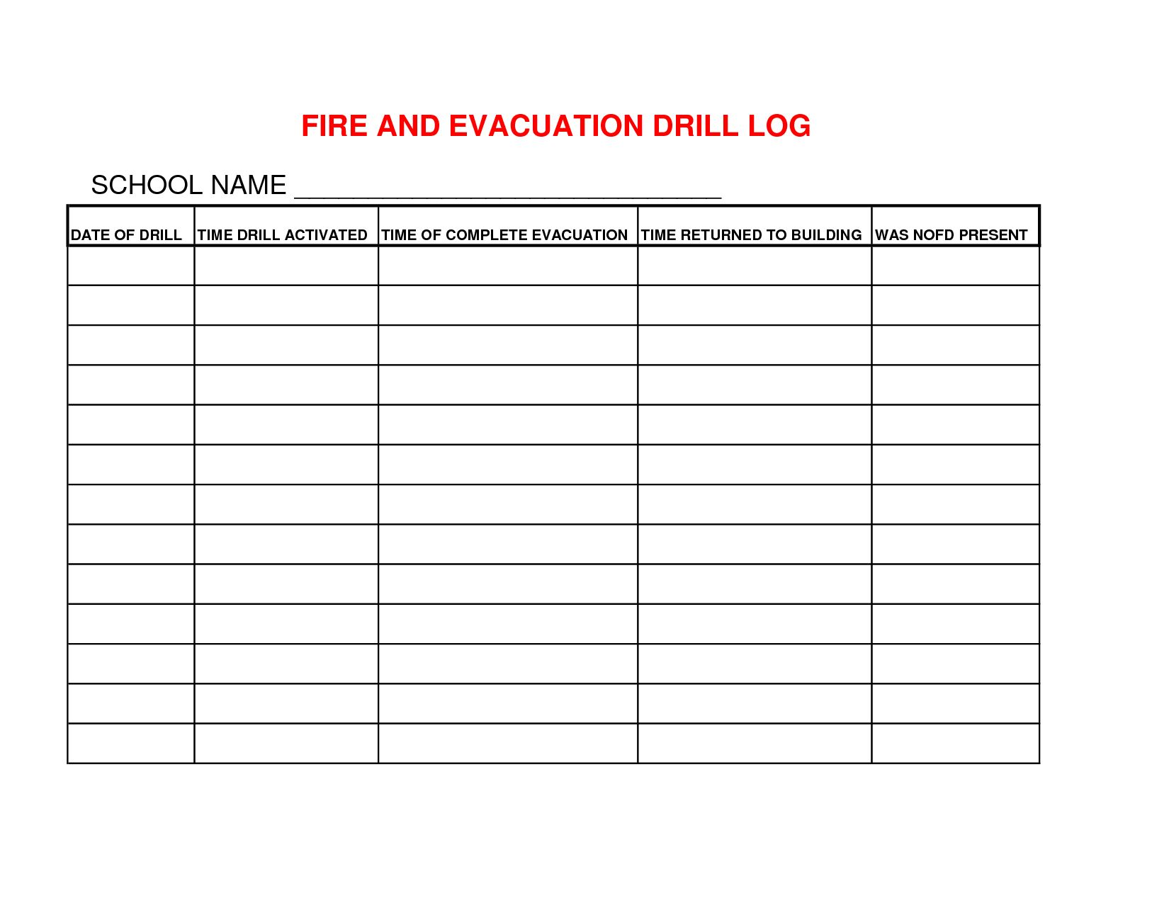 Emergency Evacuation Drill Worksheet