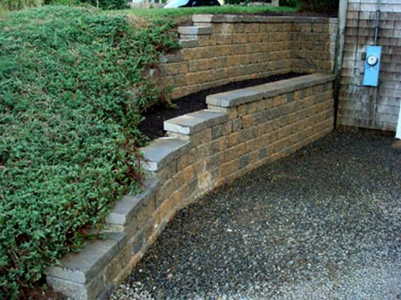 Segmental retaining walls after 1 mike stacy landscaping for Walkout basement retaining walls
