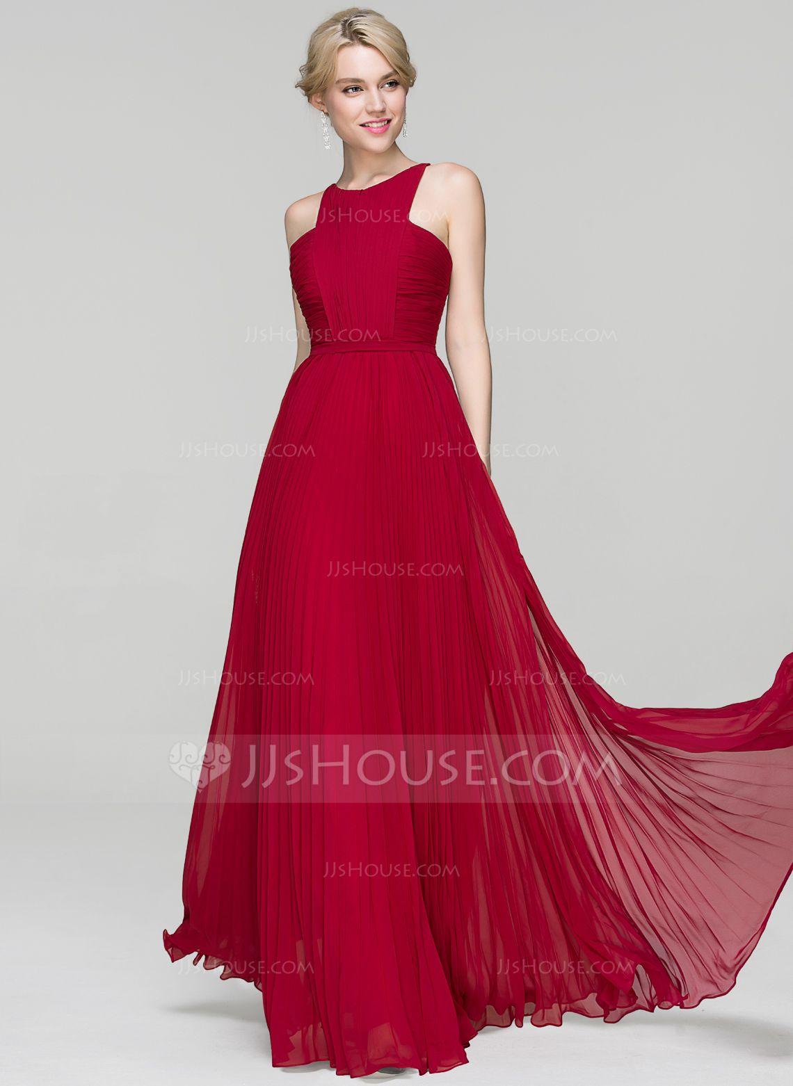 Alineprincess scoop neck floorlength chiffon evening dress with