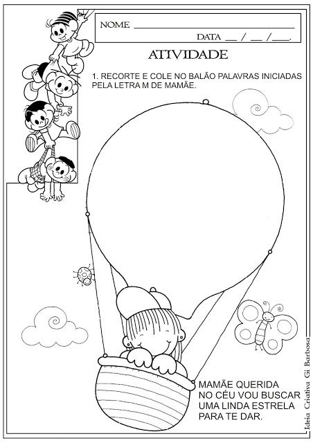 Atividade Dia Das Maes Recorte E Colagem Letra Inicial Com