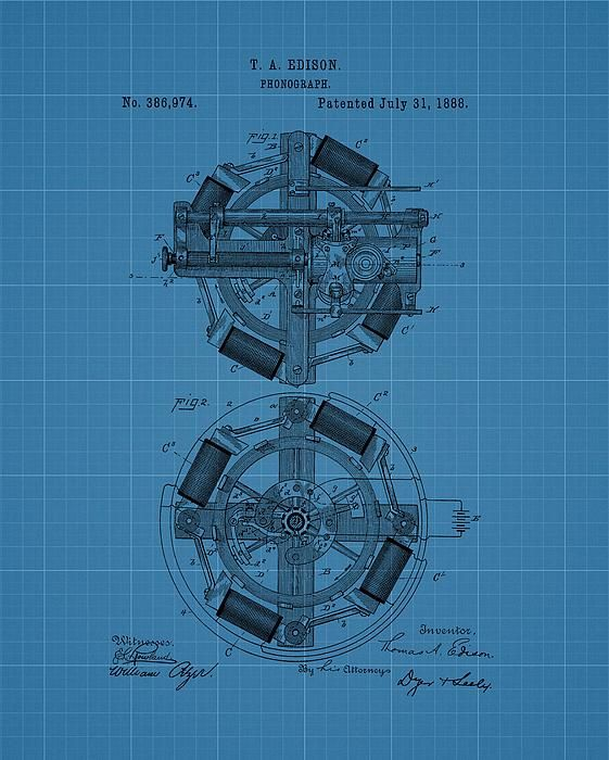 Thomas Edison Blueprint Phonograph My Photography And Digital Art - copy business blueprint for manufacturing