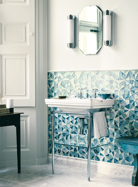 Battersea large basin and washstand, Avebury taps and Francesca lights (Iridescent Glass Mosaic tiles on wall and Bridgehampton marble tiles on floor)