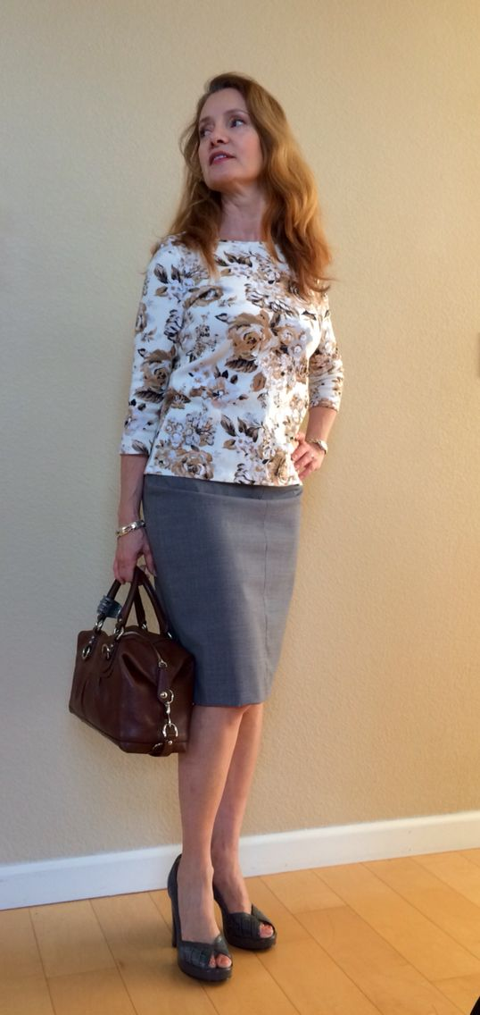Grey skirt with grey & brown top