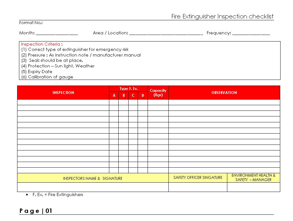 Fire Extinguisher Inspection Checklist Fire Extinguisher Inspection Inspection Checklist Checklist
