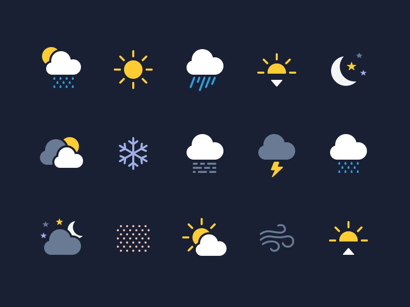 Weather Icons (Made with Figma) via designhuntapp 아이콘