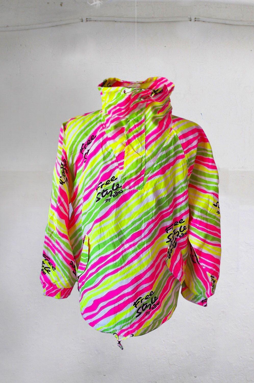 b9c93730a06 Vintage Elho Freestyle Snowboard Ski Jacket Size XL XXL Pink Neon Funky 90s  by VapeoVintage on