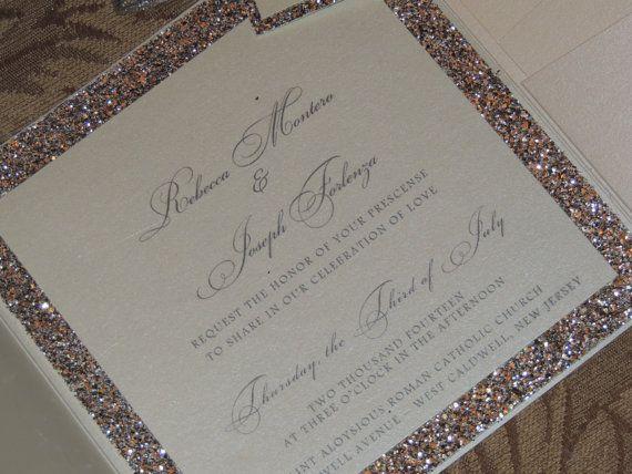 Glitter Wedding Invitation Sparkle Wedding Invitation Gold