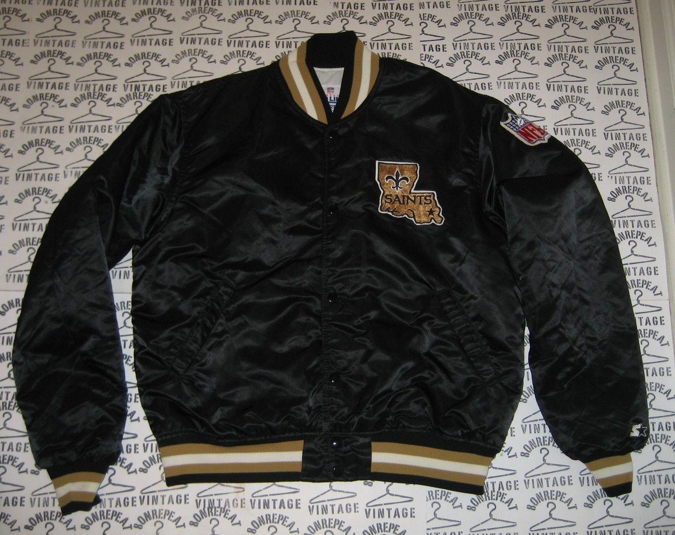 59118dcbb Vintage NEW ORLEANS SAINTS STARTER Jacket Satin L MADE IN USA football  MINT! NFL
