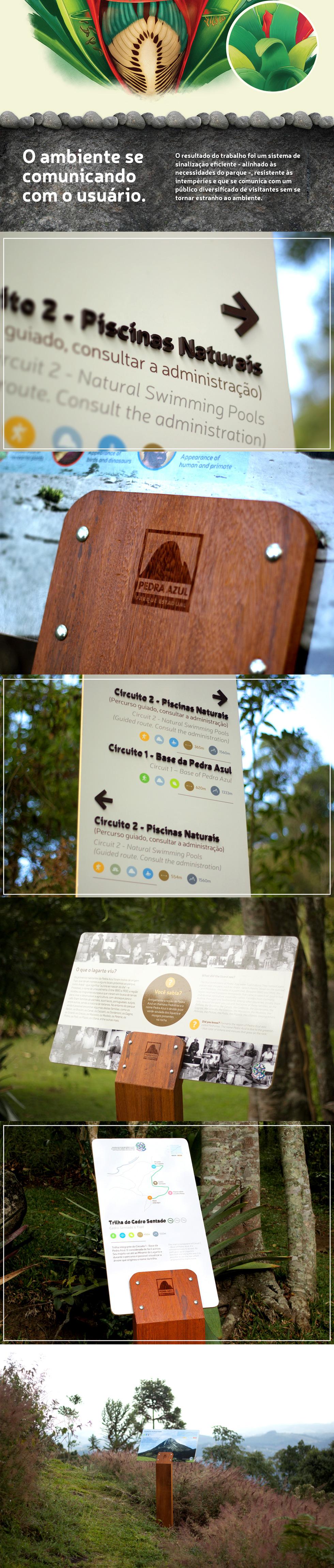O projeto de sinalização do escritório capixaba Balaio Design para o Parque Estadual Pedra Azul foi selecionado para estar presente na Bienal Brasileira de Design 2015 (que nessa edição aconteceu em Florianópolis - SC). Abaixo, em material do próprio escritório, pode-se ver a descrição do projeto.