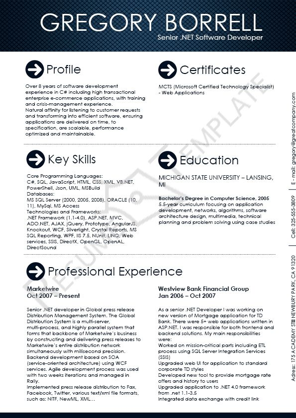 Pin By Software Engineer Resume Template On Software Engineer Resume  Template | Pinterest | Writing Software, Sample Resume And Software