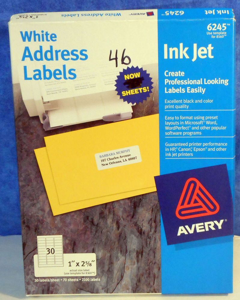labels avery white address 1 x 2 5 8 ink jet 1380 labels 6245