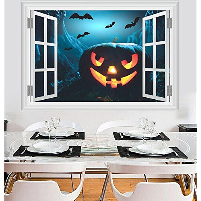 Dragon Honor Horror Ghost Castle Pumpkin Head 3D Windows Mural