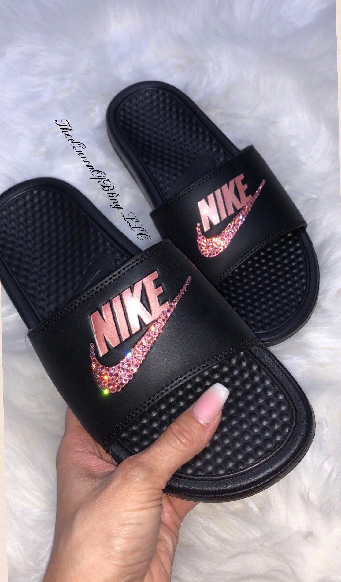 various colors 75953 444c5 Nike Benassi Slides, crystalized nike slides, swarvoski nike slides  women   adidasslides  shoes  customslides  womenssandals  sandals  swarvoskislides  ...