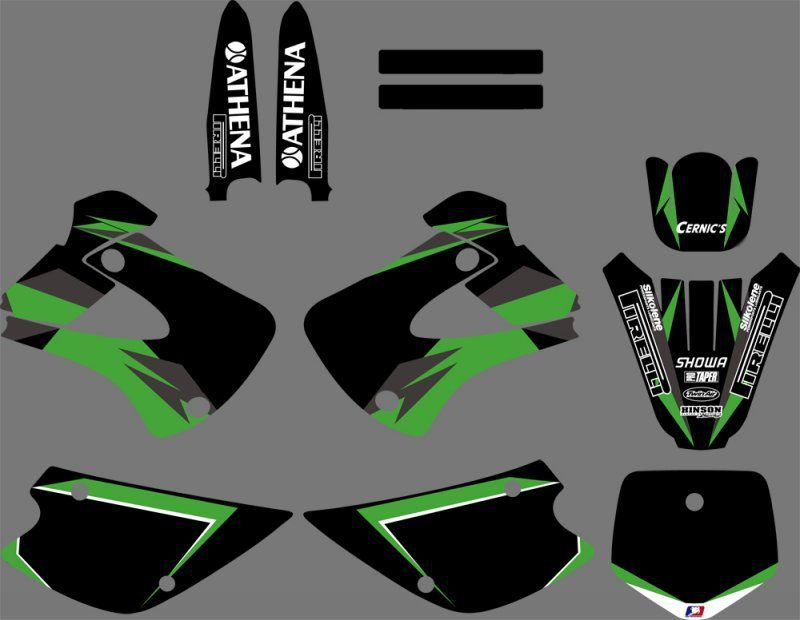 Kawasaki 5 inch Decals Stickers Graphics Fairings Brakes Sprockets Chain 520 LED