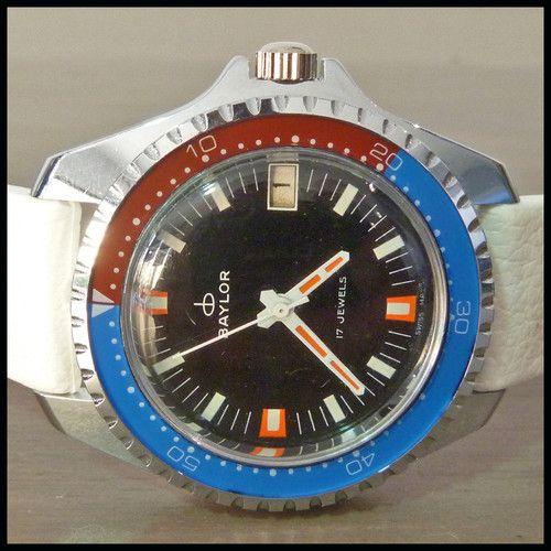 1970's BAYLOR [Swiss] NOS Large Vintage Diver Watch; HW 17j Cal. AS1950-51; 42mm