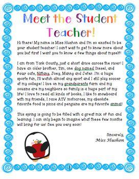 Student Teacher Introduction Letter Teacher Introduction Letter