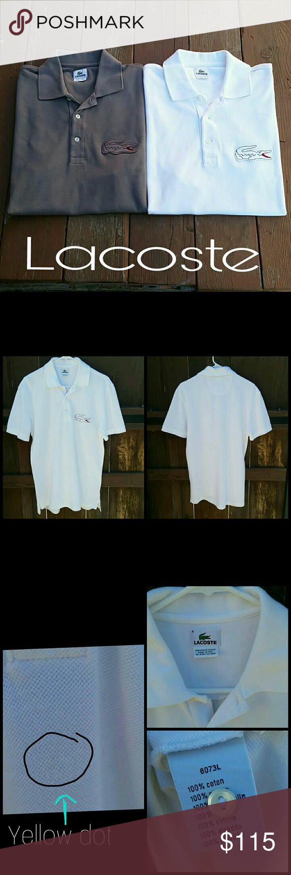 80077c1586a Lacoste Polos Bundle on two Polos with oversized croc each shirt retails  for  150. White