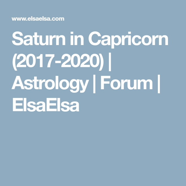Forum | Astrological trends  | Astrology, Capricorn