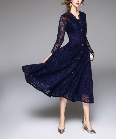 Look what I found on #zulily! Navy Lace-Overlay Button-Accent Fit & Flare Dress #zulilyfinds