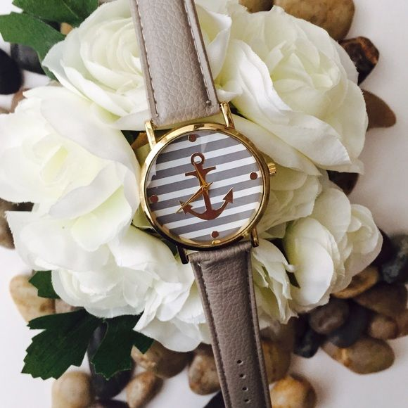 Gray anchor nautical stripe leather watch new Brand new striped nautical style watch with grey leather band and gold toned anchor detail. Perfect for Spring and Summer travels! Accessories Watches