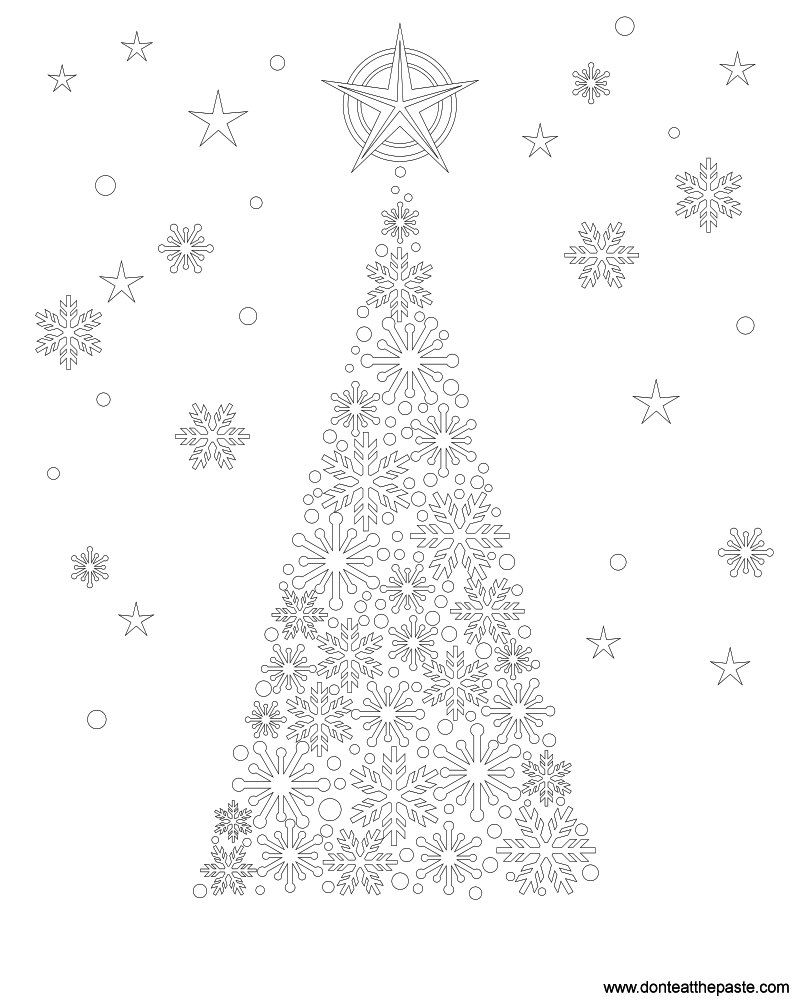 Snowflake Tree Coloring Page | Christmas tree, Adult coloring and ...