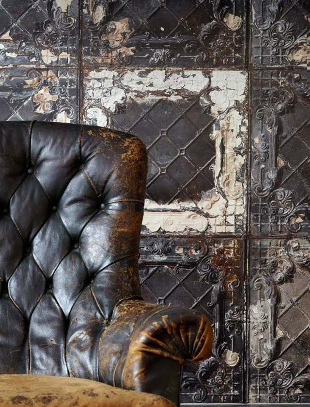 Schon Tapeten Wohnzimmer Vintage Kachel Braun Brooklyn Tins