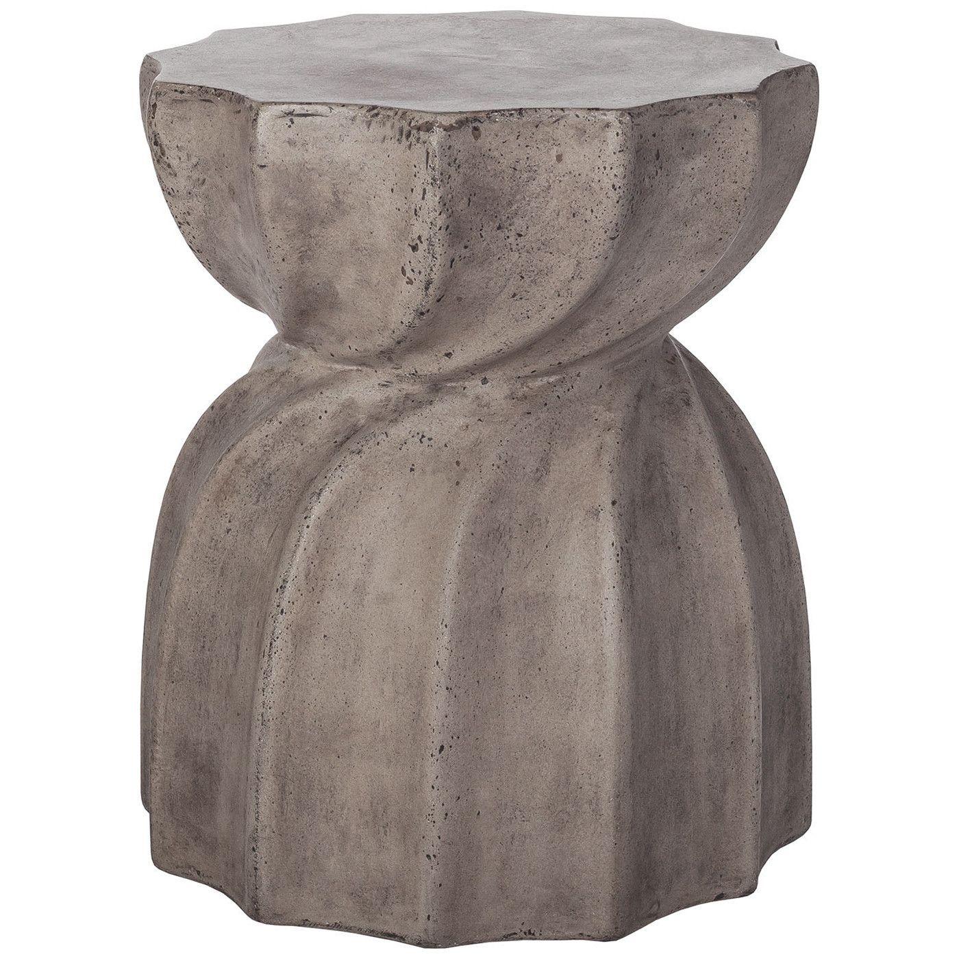 Industrial Warp Side Table In Waxed Concrete