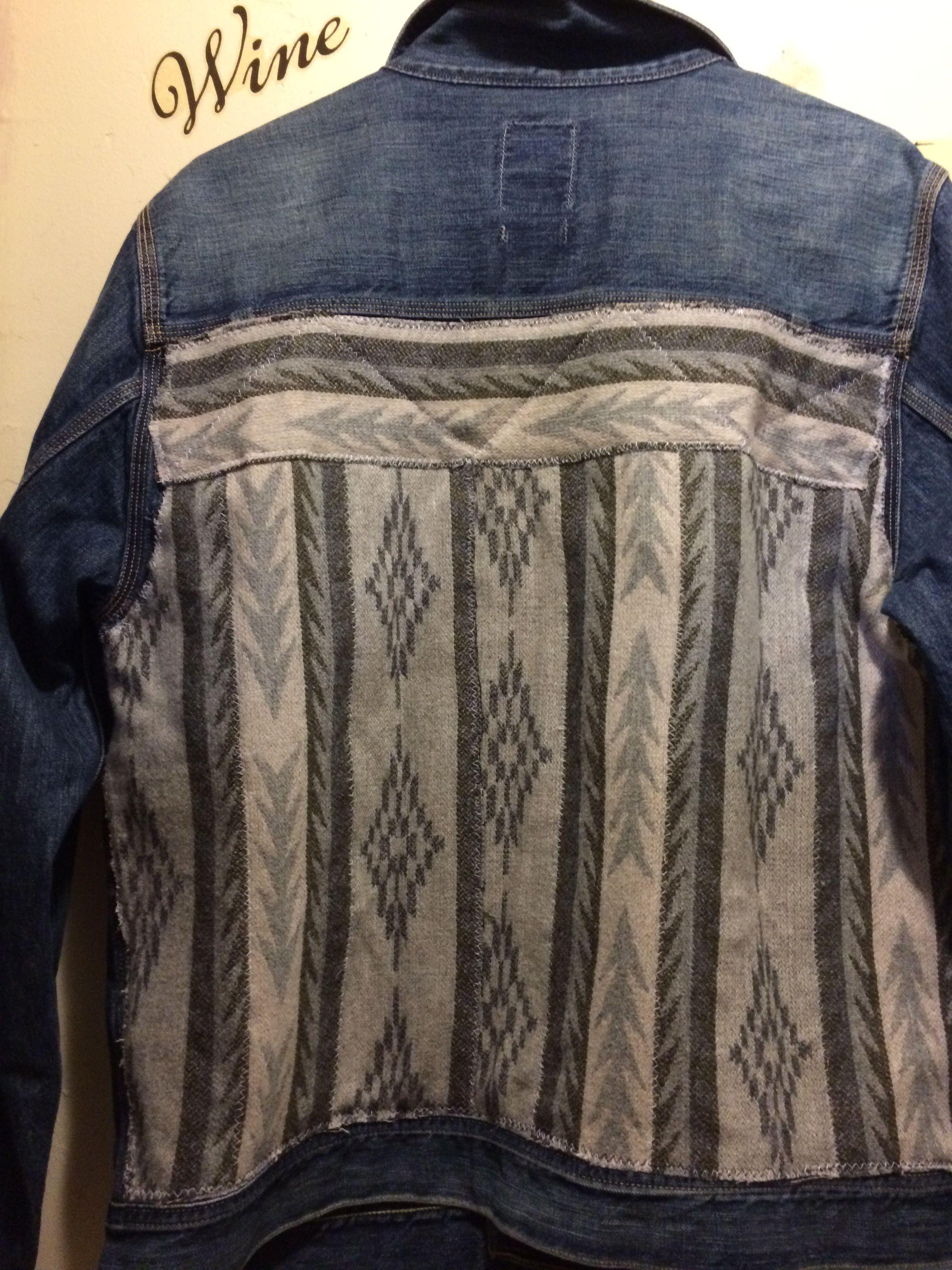 Mens jeans design legends jeans - Up Cycled Vintage Lucky Brand Legend Men S Jacket With Southwest Blanket Fabric