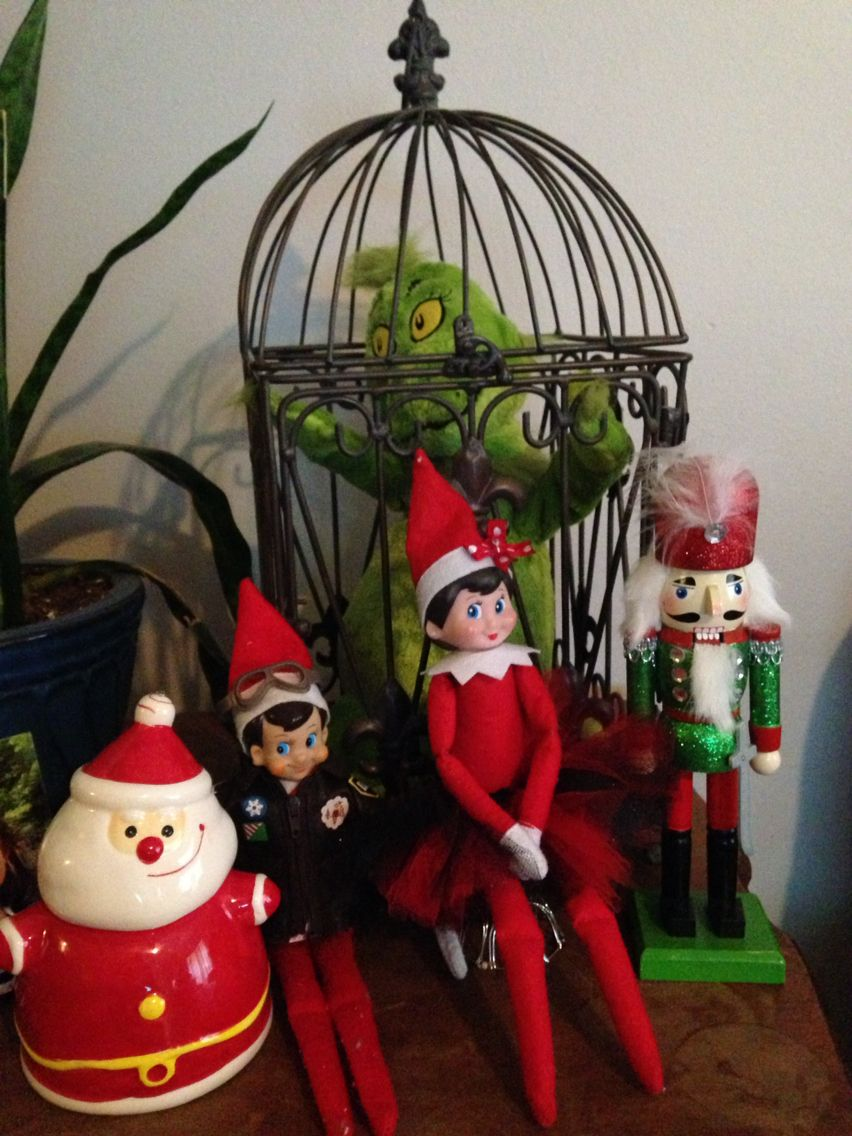 Our elves on a shelf Jingle Bells and Holly Jolly have captured the Grinch!  Stand Guard!