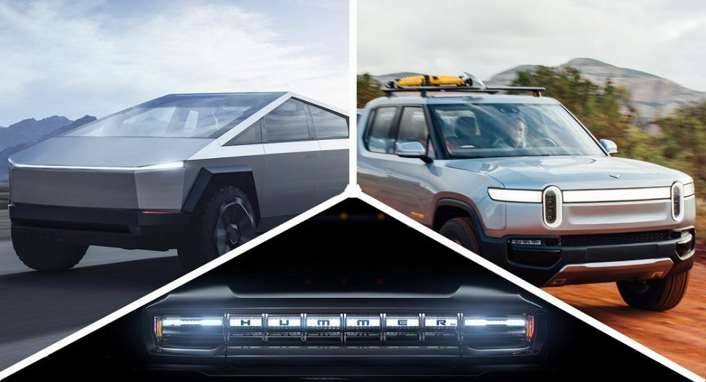 Battle Of The Electric Trucks See How The Gmc Hummer Ev Tesla Cybertruck And Rivian R1t Stack Up In 2020 Hummer Electric Truck Classic Pickup Trucks