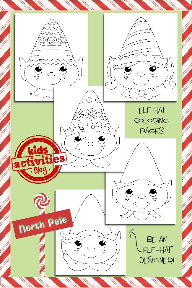 Holiday Coloring Pages For Kids Elf Hats Christmas Coloring