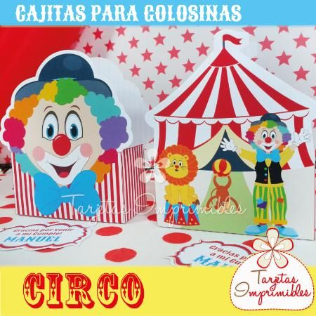Cajitas para golosinas circo kit de decoraciones - Dibujos de decoracion ...