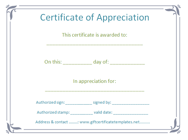 Elegant Certificate Of Appreciation Template  Certificate