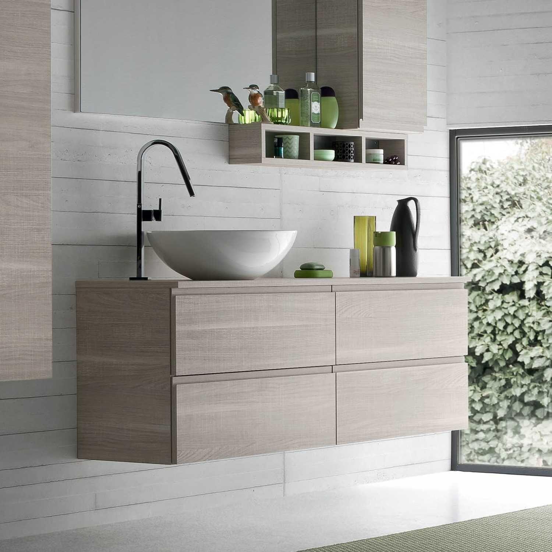 Mobile bagno con lavabo in appoggio atlantic arredaclick for Armadietti per bagno
