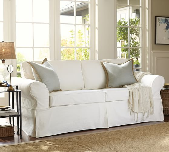 Pearce Roll Arm Slipcovered Sofa Living Room Furniture
