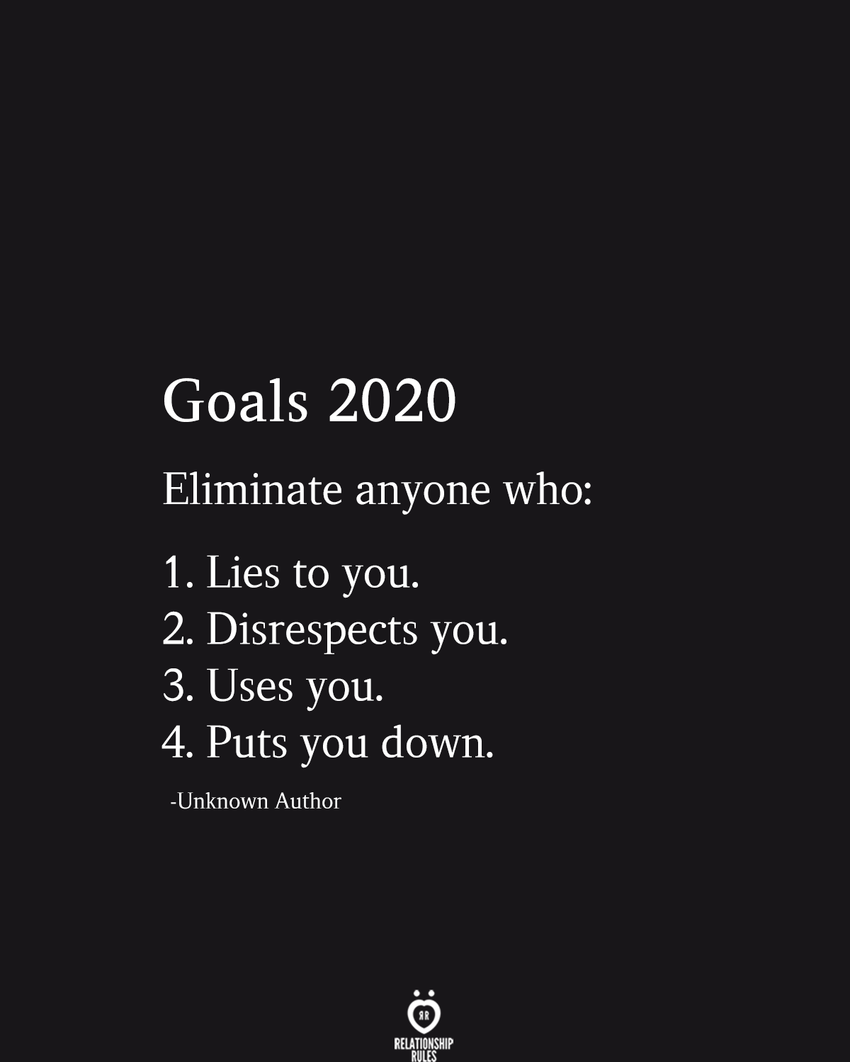 Goals 2020 Eliminate Anyone Who